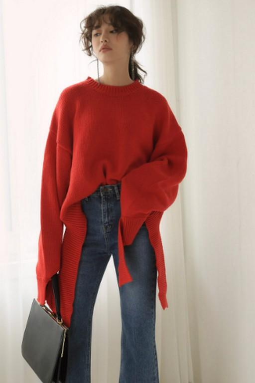 Red Oversized Strip Bottom Sweater