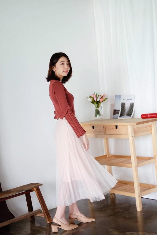 Pleated Tulle Midi Flare Skirt (Cream Pink)