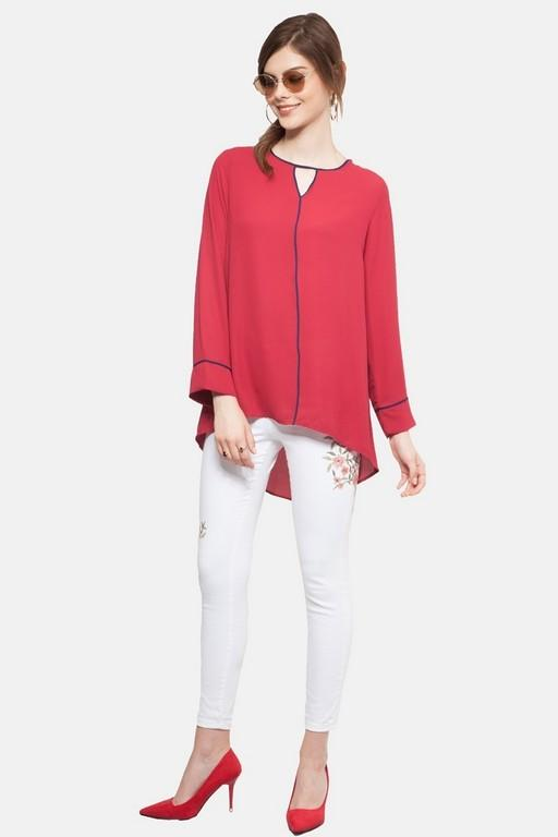 Cindy Curve Top in Red